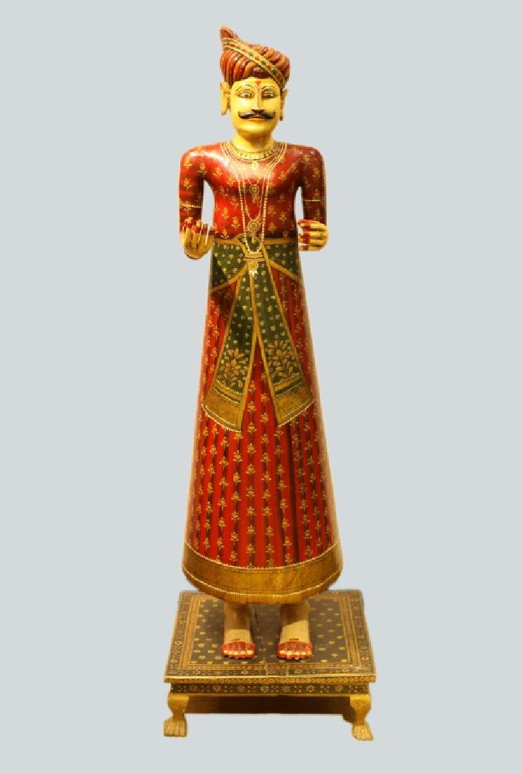 polychrome wooden male figure, India, 19th c.