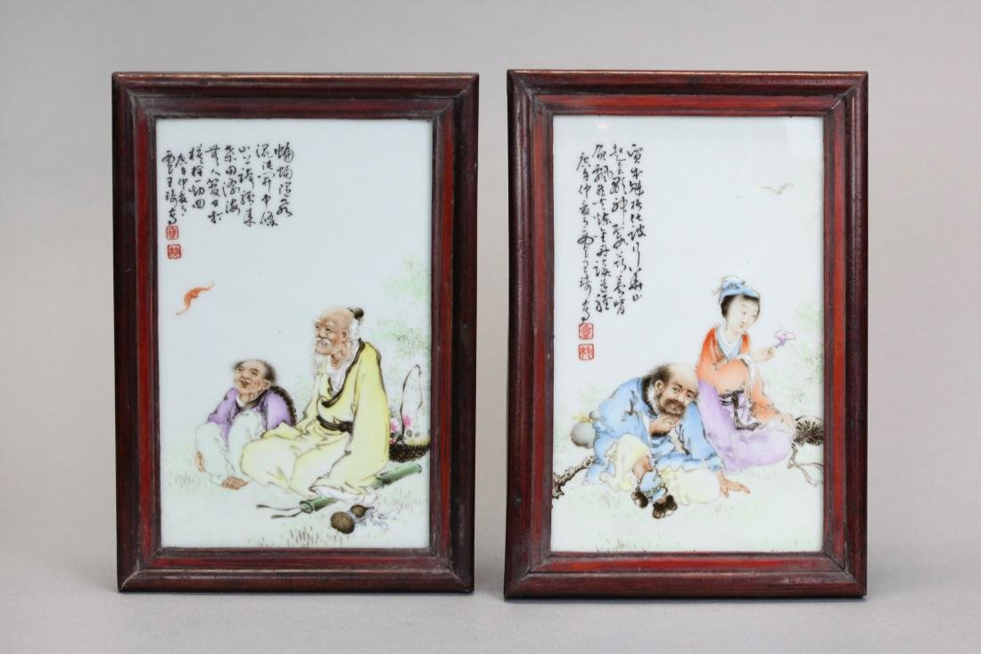 pair of Chinese porcelain plaques