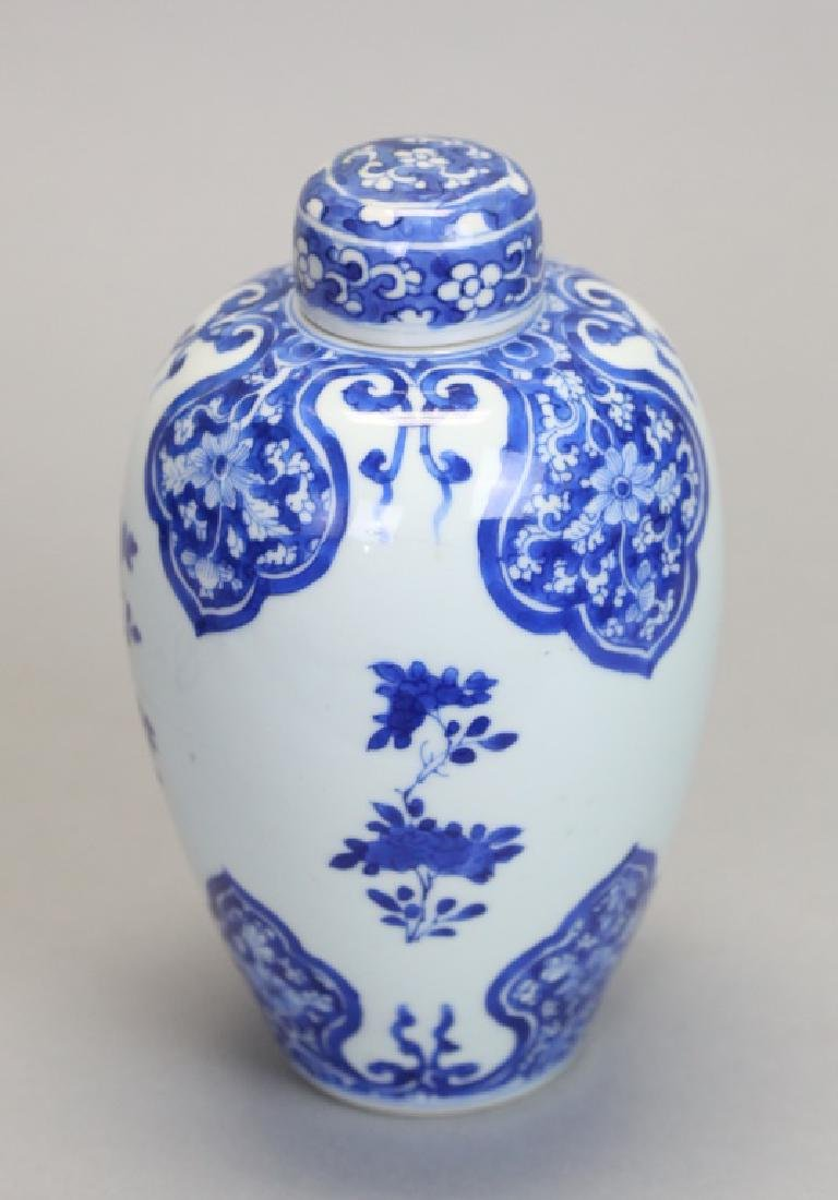Chinese blue & white porcelain cover jar, 18th c.