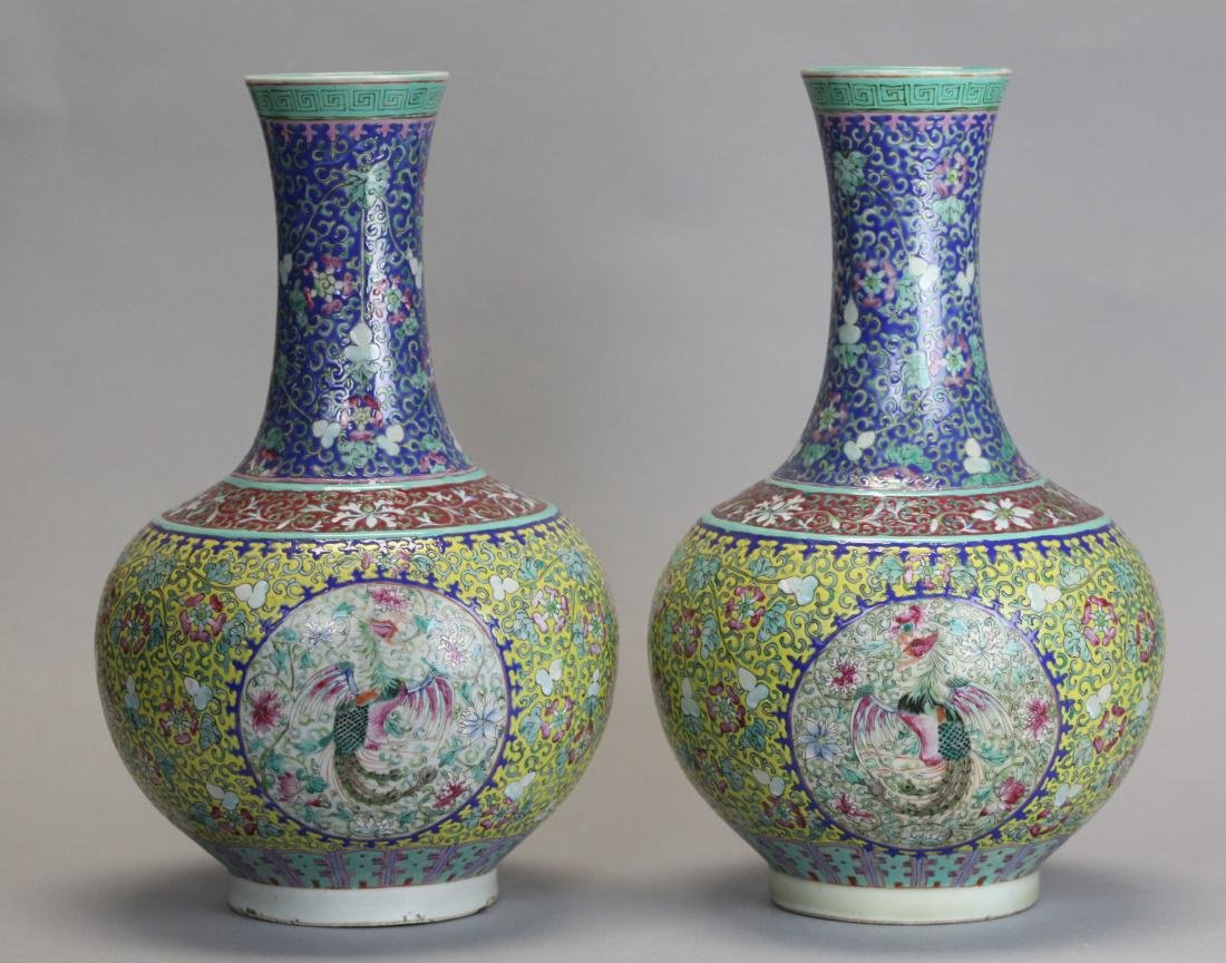 pair of Chinese porcelain bottle vases, Qing dynasty