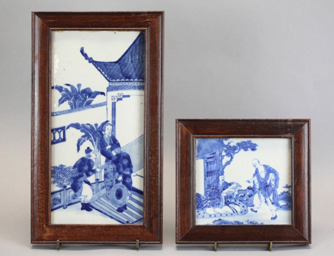2 Chinese framed blue & white plaques, Qing dynasty