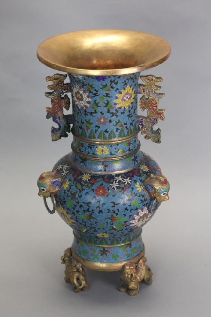 Chinese gilt cloisonné vase, 20th c.