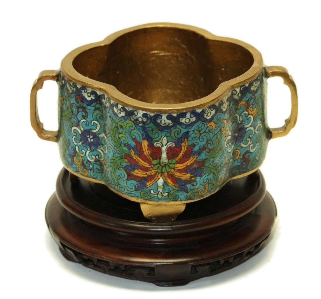 Chinese two handled cloisonné censer