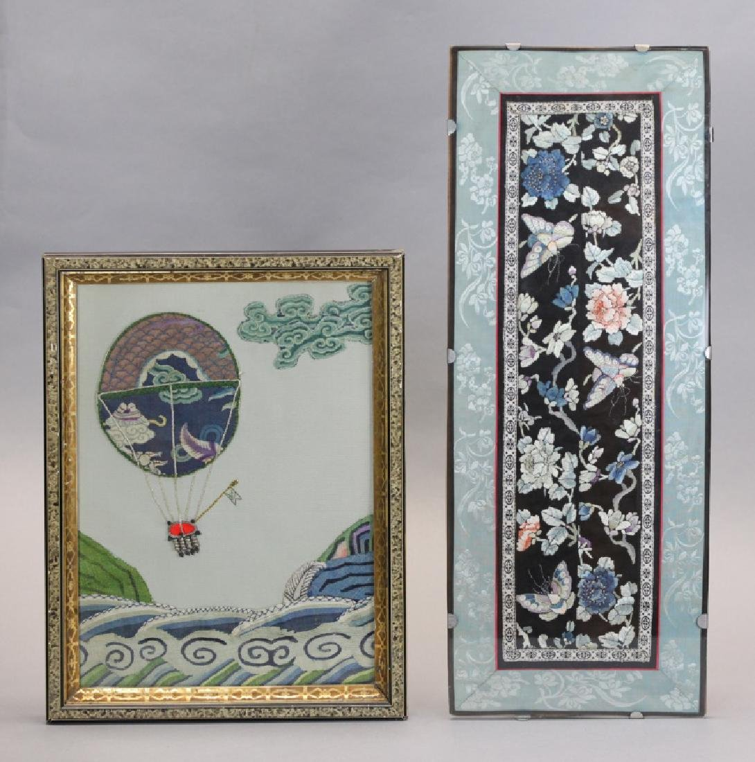 2 Chinese embroideries/kesi, 19th c.