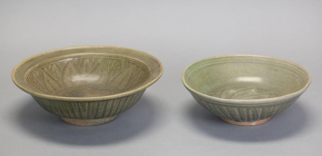 2 Chinese celadon glazed ceramic bowls