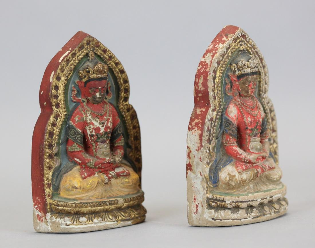 2 Chinese polychrome clay Buddhas, 19th c. - 2