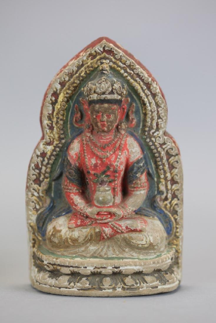 2 Chinese polychrome clay Buddhas, 19th c. - 5