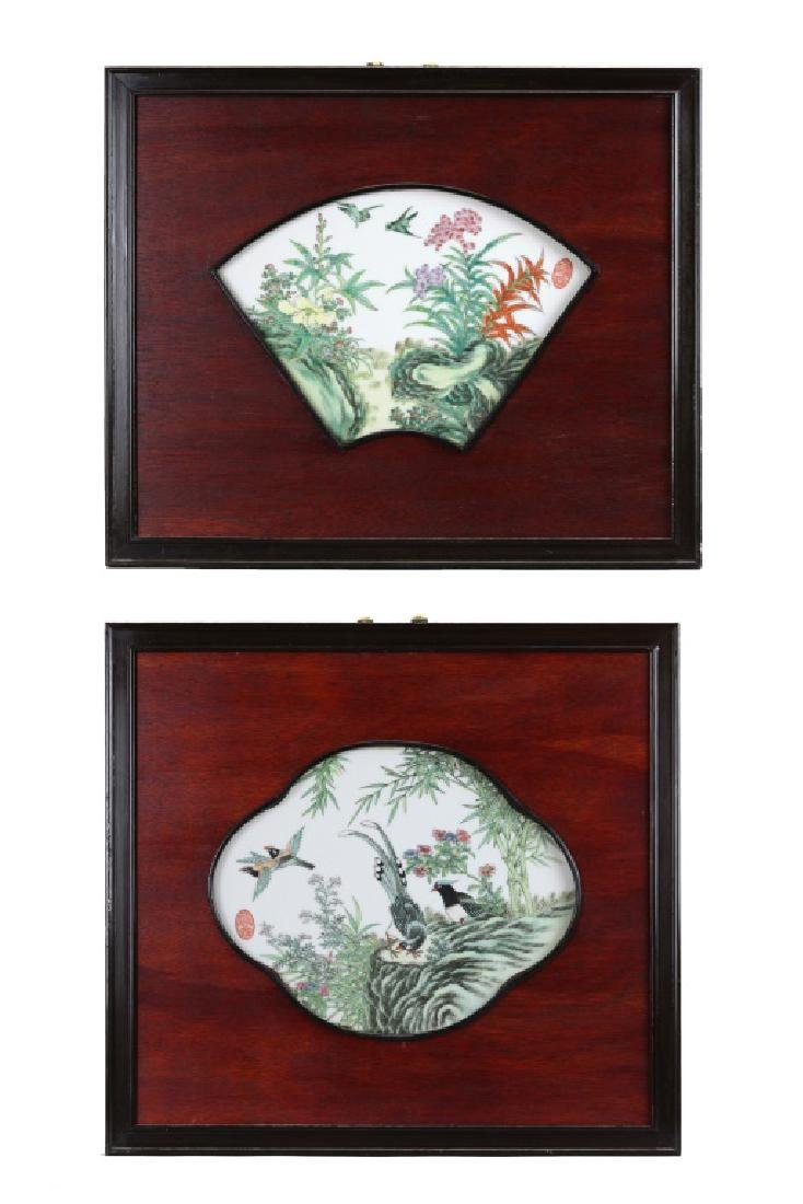 2 Chinese porcelain tiles inset in wooden frames