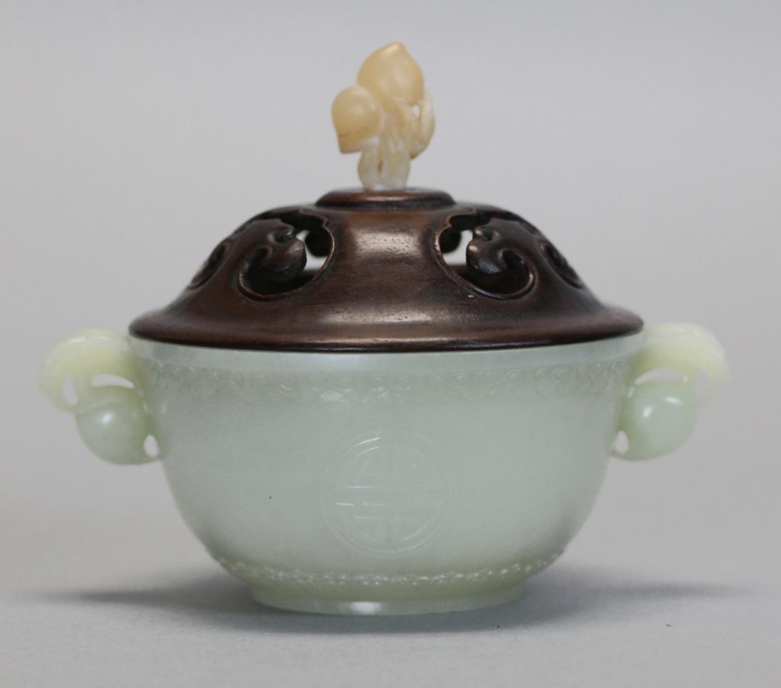 Chinese white jade censer w/ wooden cover