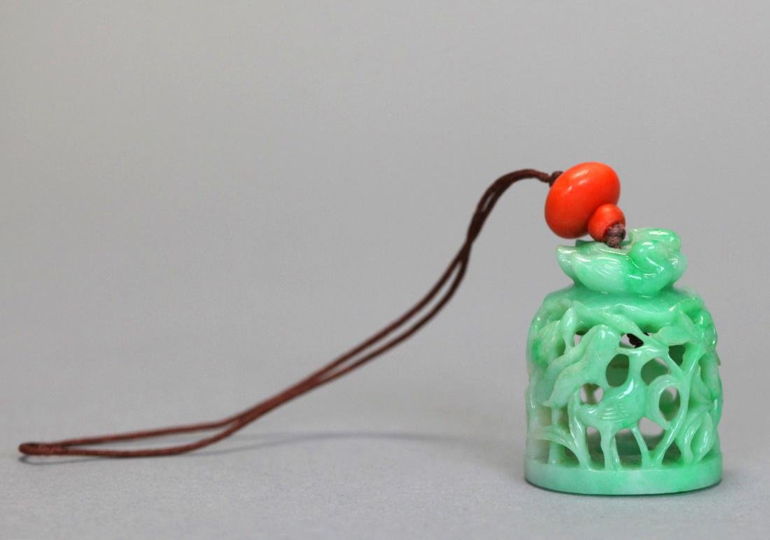 Chinese jadeite & coral hat finial, 19th c.
