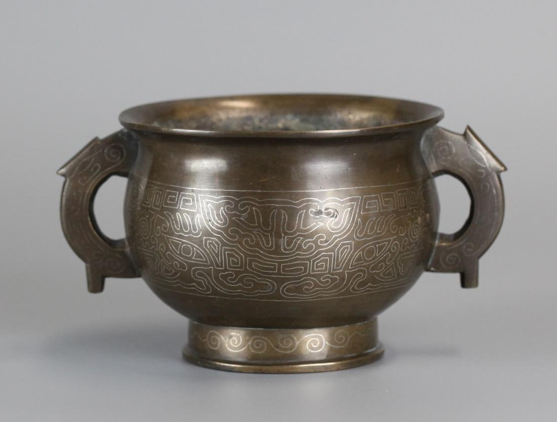 Chinese bronze censer inlaid w/ silver, 18th/19th c.