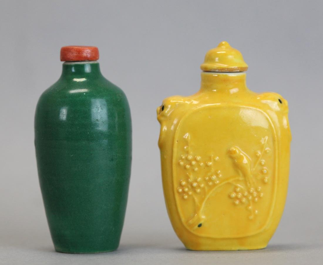 2 Chinese porcelain snuff bottles, 19th c.