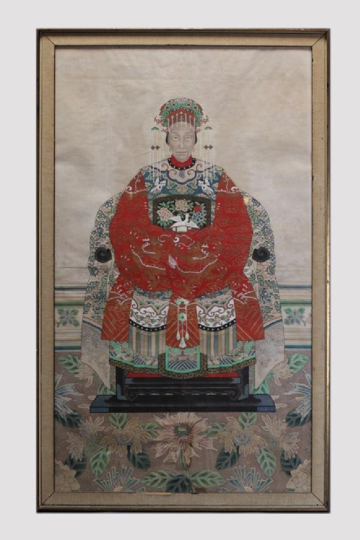 framed Chinese ancestral portrait, 19th c.
