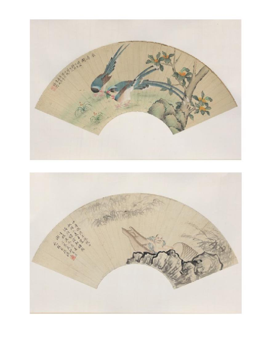 2 Chinese fan shaped watercolor paintings