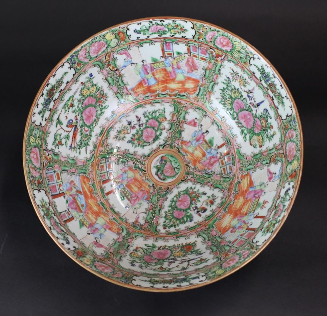 Chinese rose medallion porcelain punch bowl, 19th c. - 3