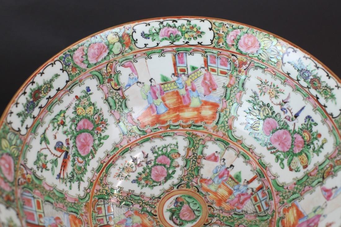 Chinese rose medallion porcelain punch bowl, 19th c. - 4