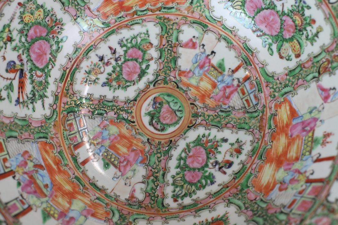 Chinese rose medallion porcelain punch bowl, 19th c. - 5