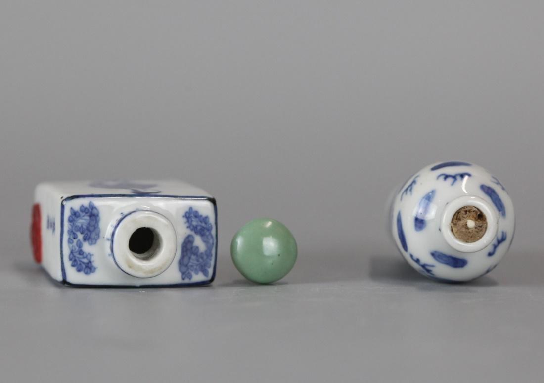 2 Chinese blue & white porcelain snuff bottles - 3