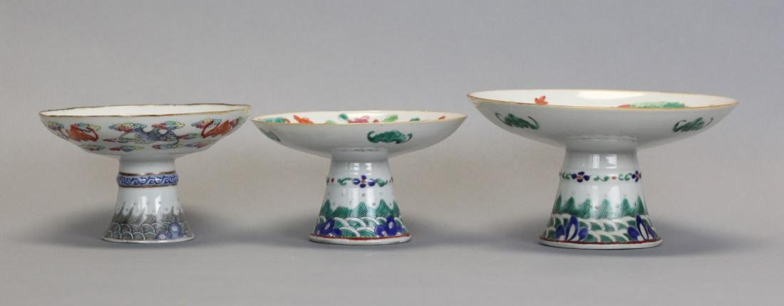 3 Chinese famille rose raised platters, 19th c.