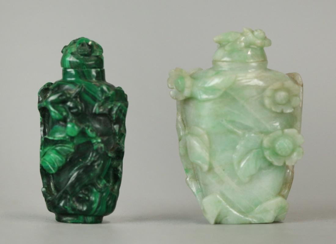 2 carved Chinese snuff bottles