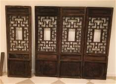 set of 4 carved Chinese wooden panels 19th20th c