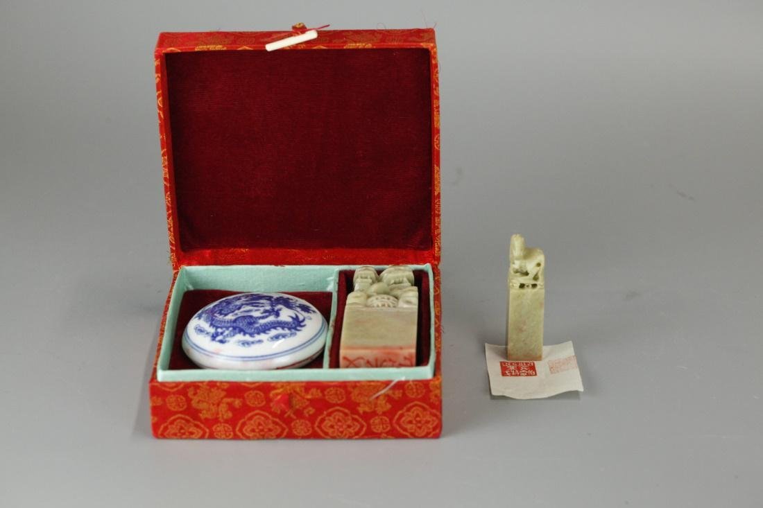 2 Chinese soapstone seals & a porcelain ink box