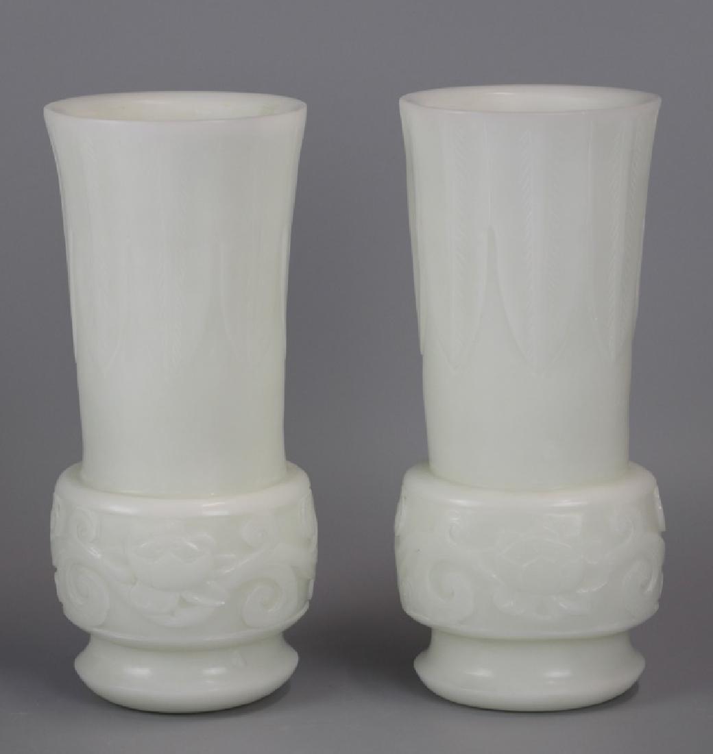 pair of Chinese opaque cream peking glass vases