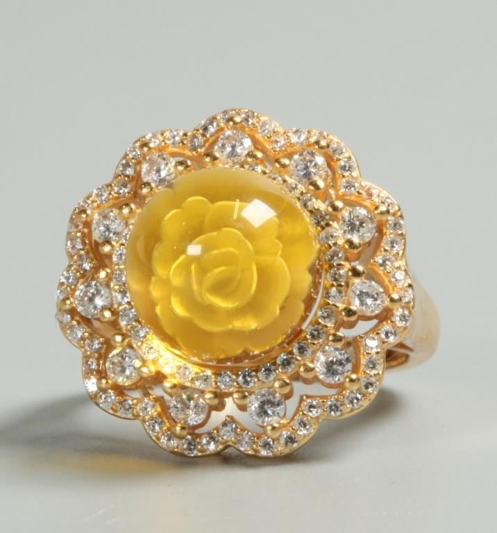 blue amber, gold over sterling silver ring