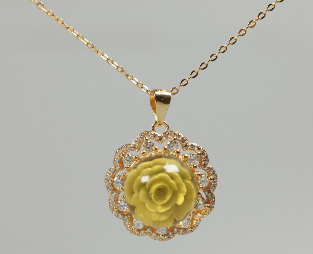 blue amber, gold over sterling silver necklace