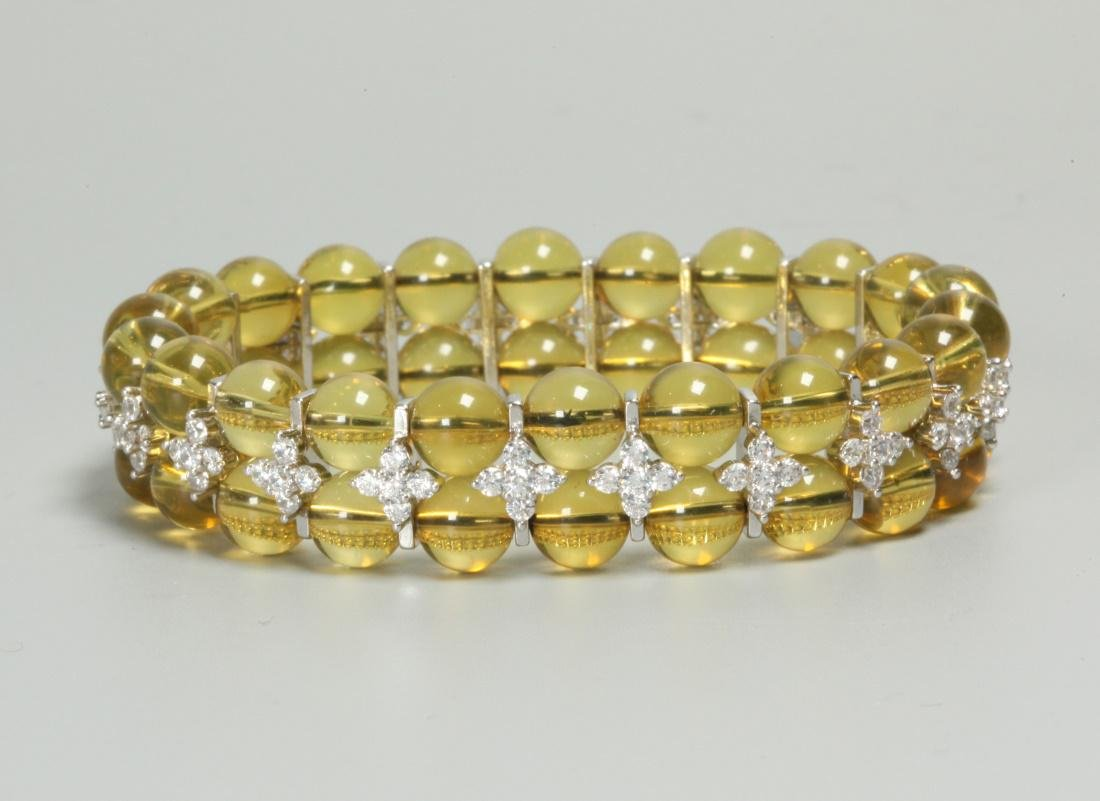 blue amber beaded bracelet