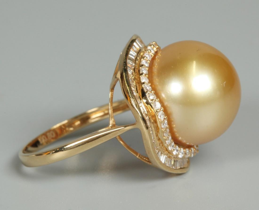 pearl, diamonds, 18K gold ring