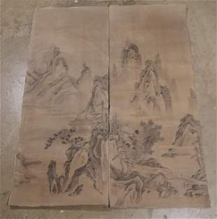 2 Chinese painted panels, possibly 19th c.