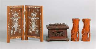 3 Chinese wood carvings