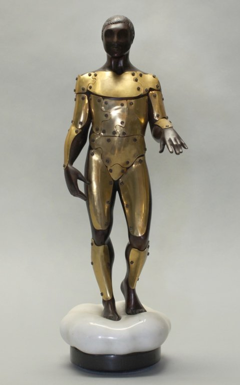 modern two tone bronze sculpture of a full-bodied man
