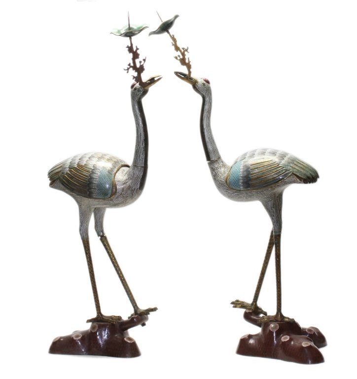 pair of large Chinese gilded cloisonne cranes