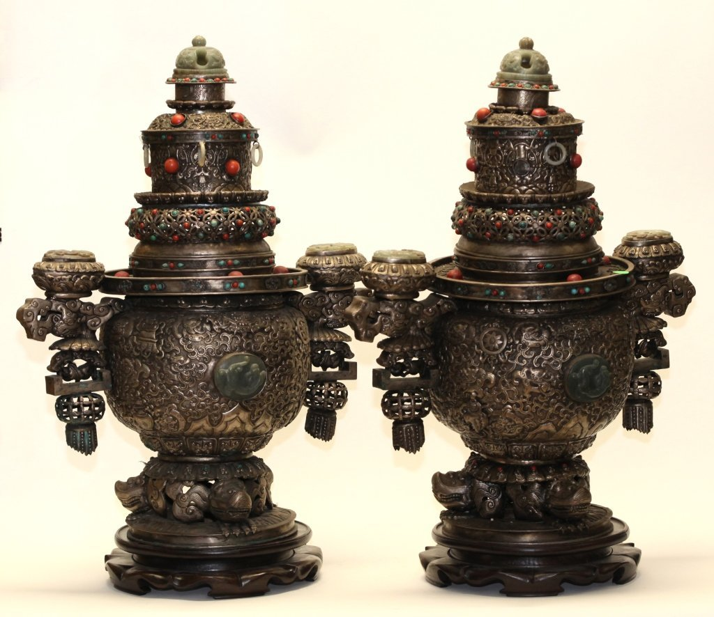 pair of Chinese mongolian silver censers