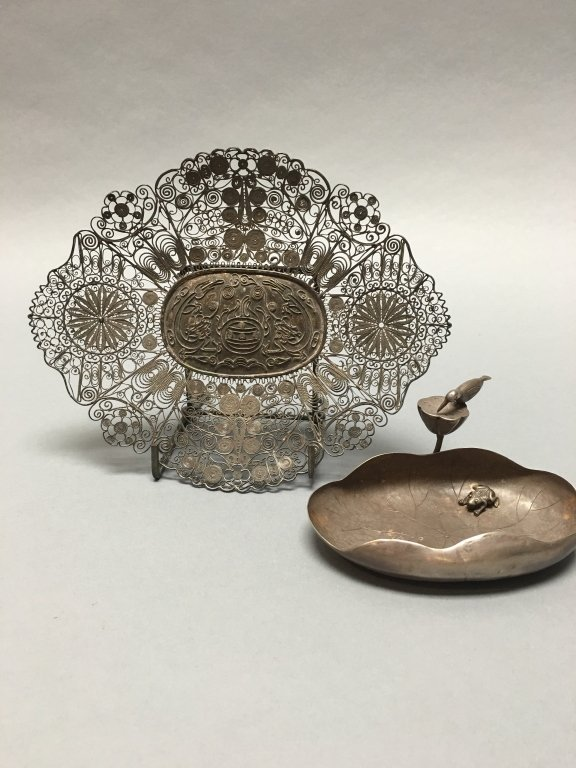 two Chinese silver trays, qing dynasty
