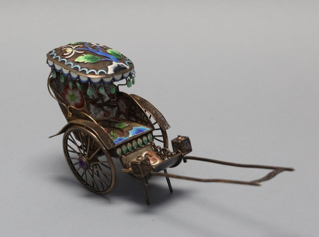 Chinese silver w/ enamel carriage
