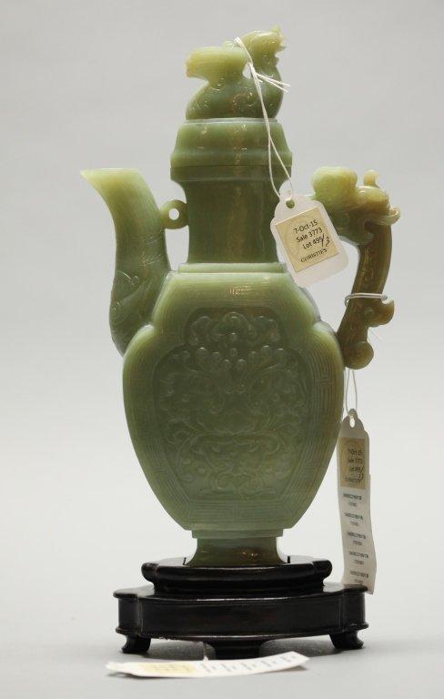 Chinese celadon jade teapot w/ russet tones