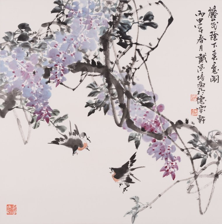 Chinese painting of birds & flowers by artist Dai Depei