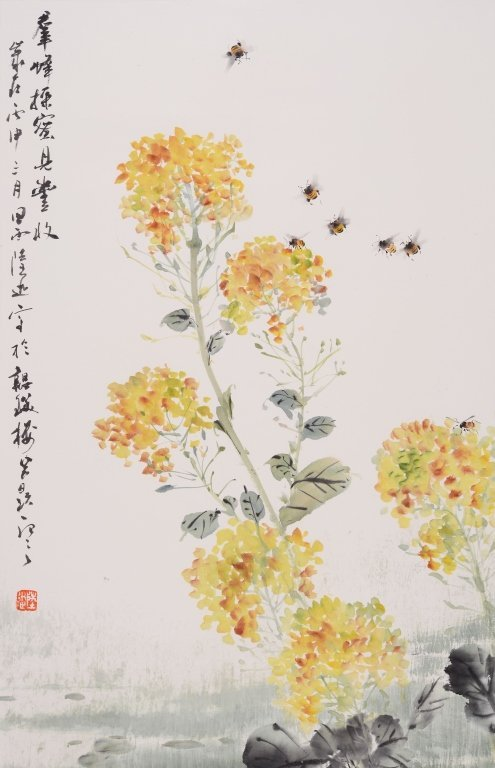 Chinese painting of flowers and bees by artist Lu Xun