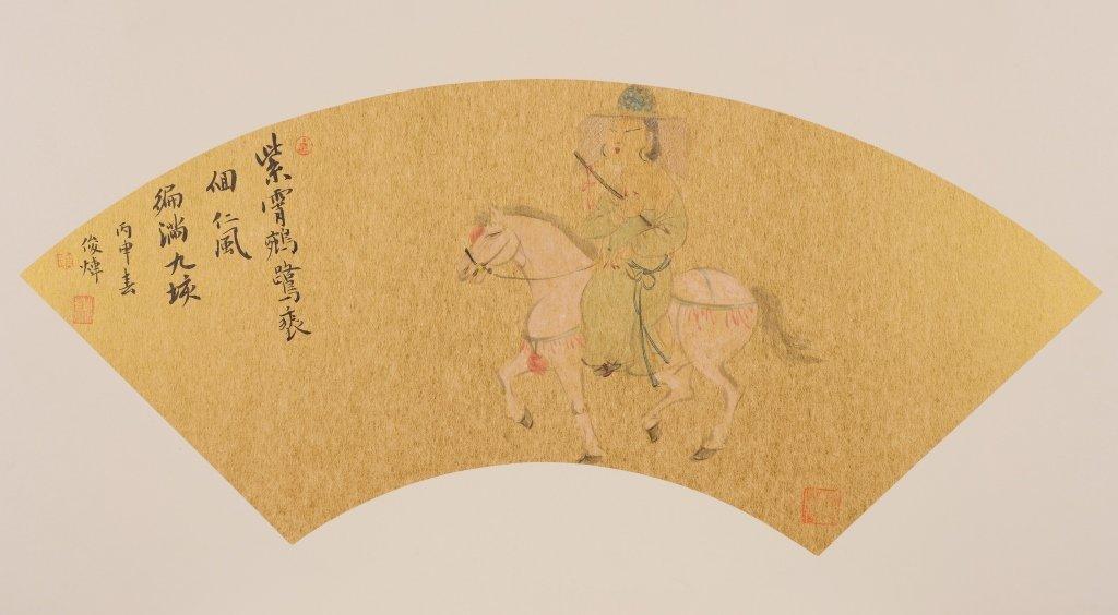 Chinese painting of figure on horse, artist Zhou Junwei