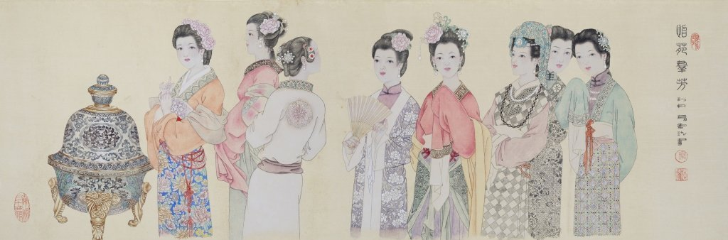 Chinese painting of figures by artist Qin Defa