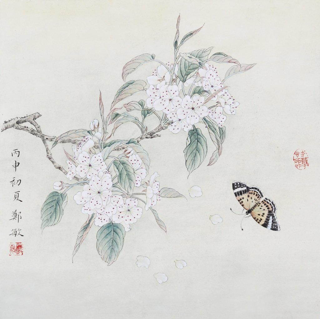 Chinese painting of flowers by artist Zheng Min