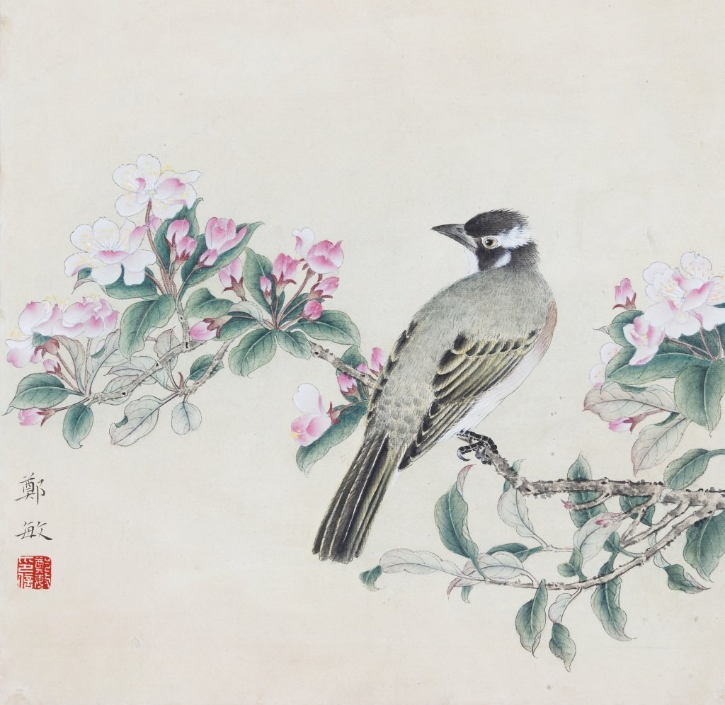 Chinese painting of flowers & birds by artist Zheng Min