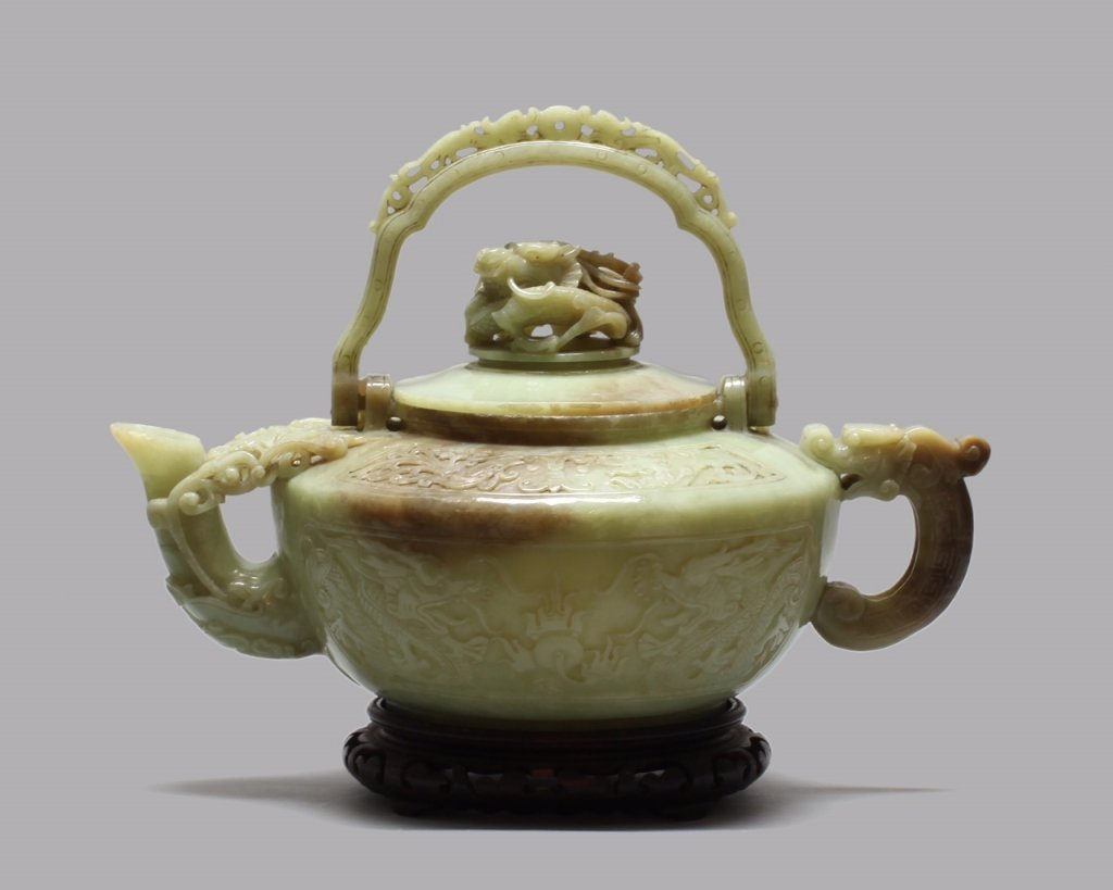 large Chinese carved nephrite jade teapot w/ cover