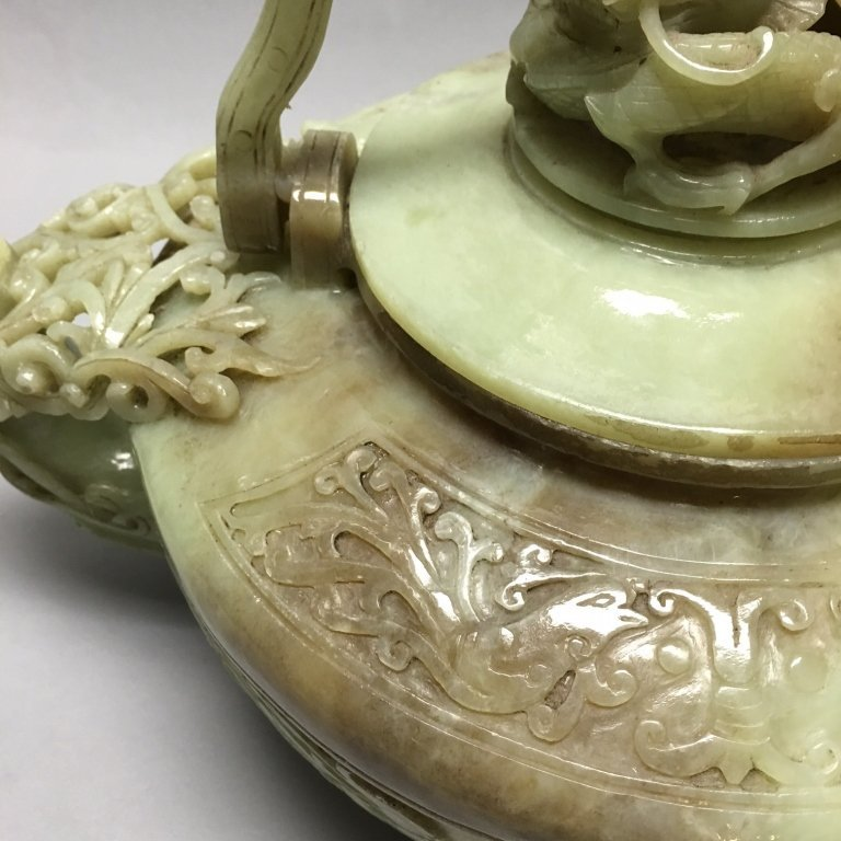 large Chinese carved nephrite jade teapot w/ cover - 3