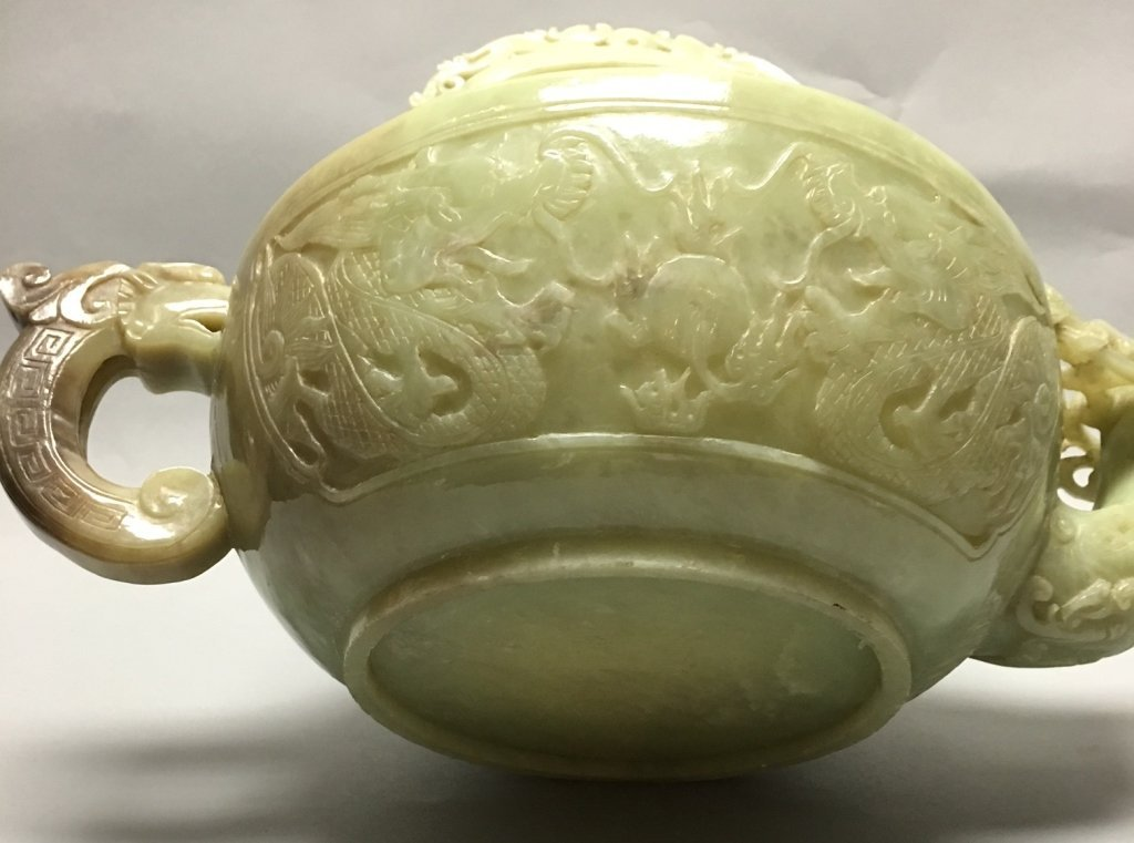 large Chinese carved nephrite jade teapot w/ cover - 9
