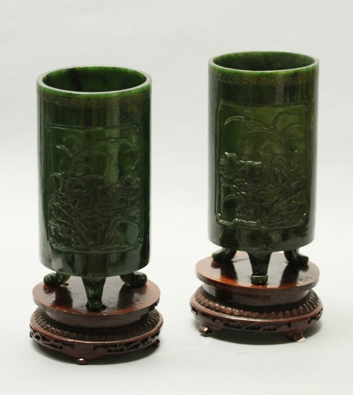 pair of large Chinese spinach jade hat stands