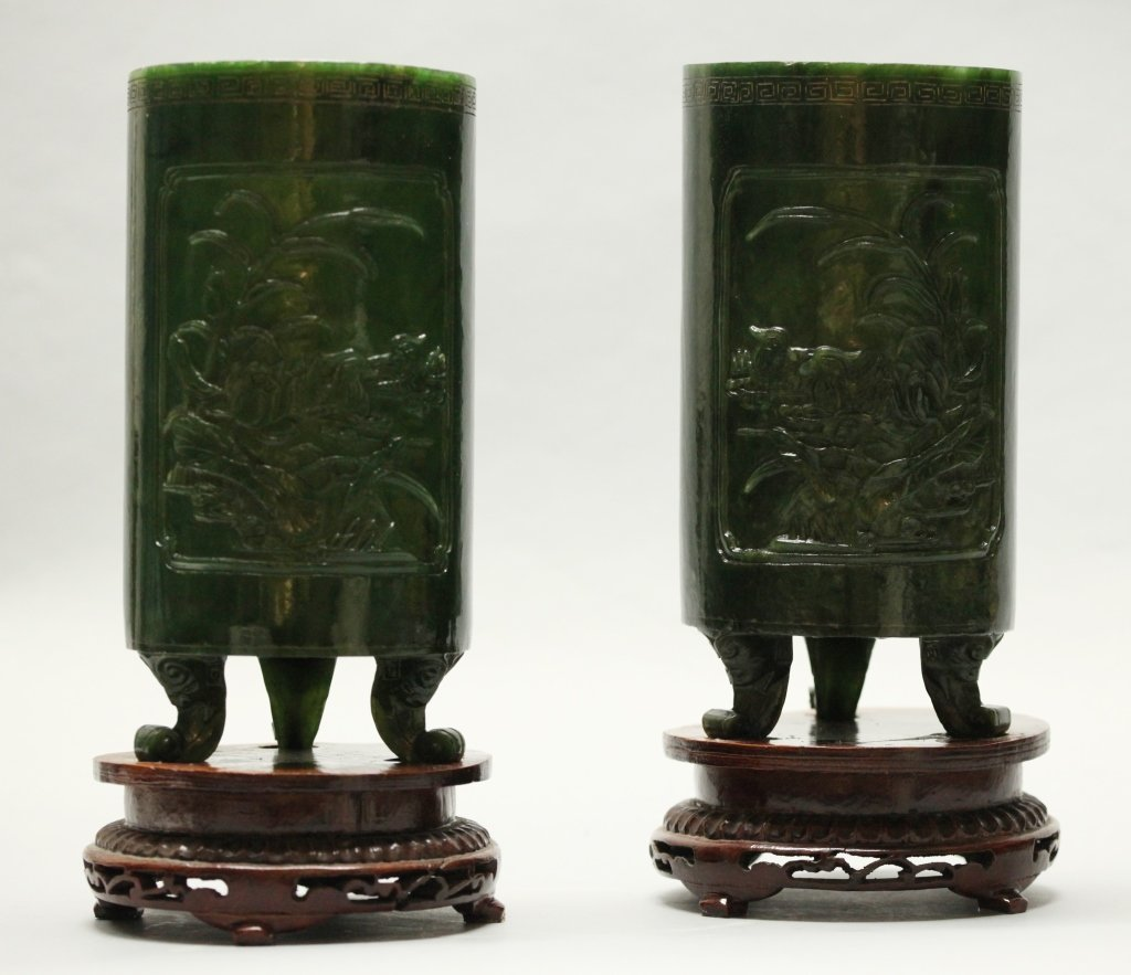 pair of large Chinese spinach jade hat stands - 2